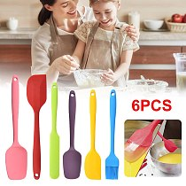 6Pcs Silicone Spatula Set with Oil Brush Heat Resistant Pastry Scraper Cream Cake Smoother Cake Decorating Tool Baking Utensils