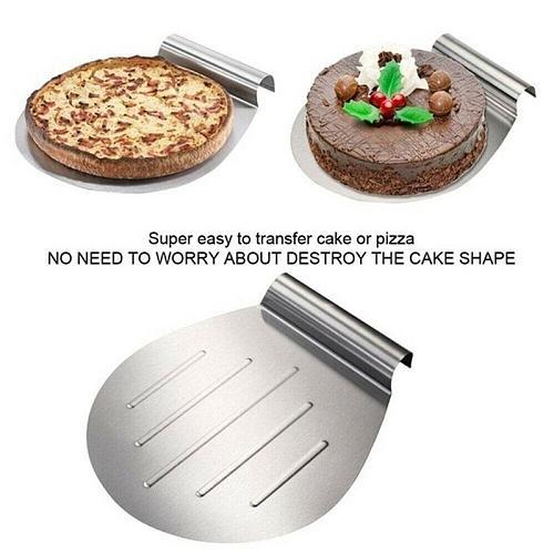 Steel Cake Shovel Transfer Cake Tray Moving Plate Cake Scraper Blade Lifter Tools Dessert Baking Pizza Bread Pastry R6W4