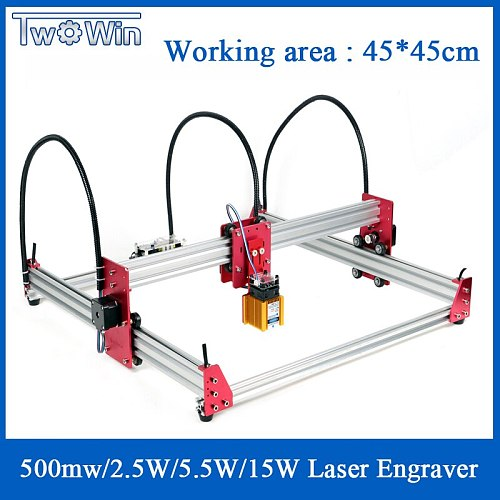 New DIY Laser Engraving Machine 15W Laser Engraver 45cmx45cm CNC 2Axis DC 12V Engraver Desktop Wood Router Cutter Printer