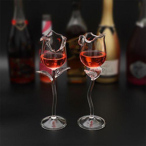 Fancy Red Wine Goblet Wine Cocktail Glasses 100ml Rose Flower Shape Wine Glass P 85LA