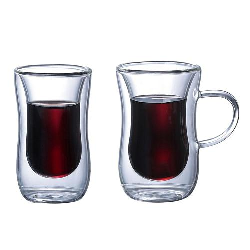 Innovative Double Wall Insulated Glass Cup Heat-resistant Glass Handle for Tea Coffee Latte Espresso Iced Tea Dishwasher Mugs