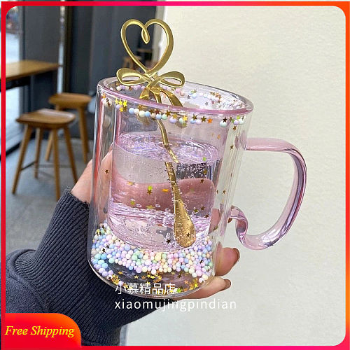 Girl Heart Bubble Starry Sky Cup Star Sequin Double Wall Glass Cup Handle Heat-resistant Milk Cup Kawaii Cup Cute Coffee Mug