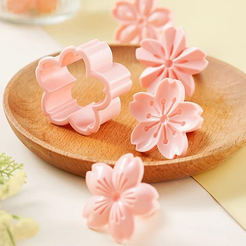 New 5pcs/set Sakura Cookie Mold Stamp  Cutter Pink Cherry Blossom Mold Flower Charm DIY Floral Mold Baking Cake Decorating Tools