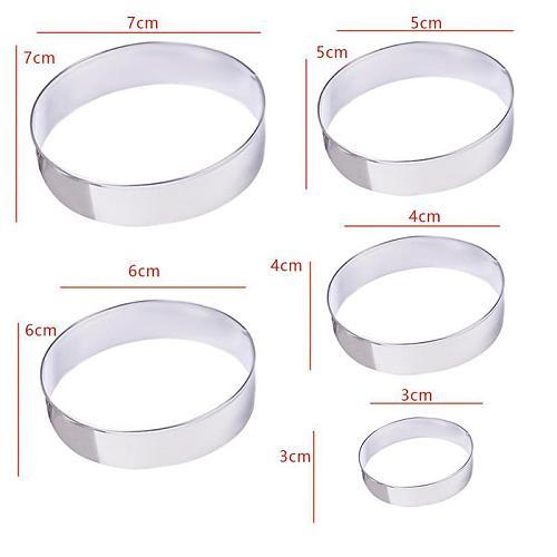 5PCS Cake Ring Mold Stainless Steel Round Circle Cookie Mousse Mini Cake Ring Cake Gum Paste Mould DIY Wedding Cake Tools