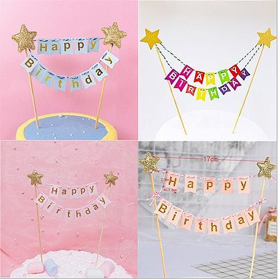 Baby 1st happy birthday Dessert Table Decoration Mini Happy Birthday Banner Star powder gold Cake Topper  Cupcake Toppers Flags