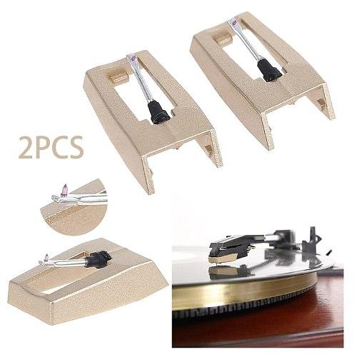 2PCS LP Turntable Phonograph Diamond Stylus Needles Accessories For Gramophone Record Golden