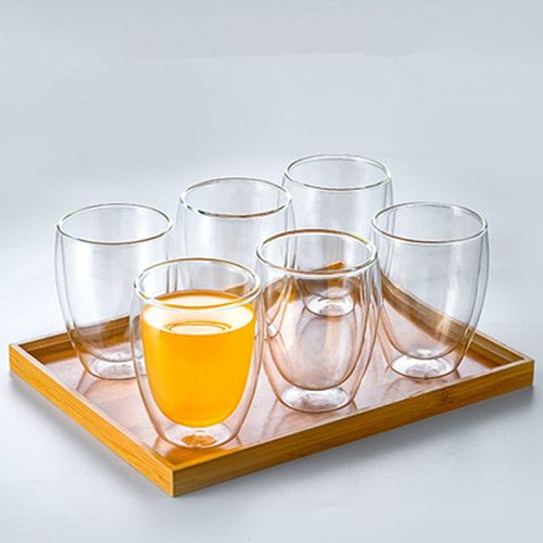 Double Wall Glass Coffee Mugs Travel Double Coffee Tea Cups Heat Resistant Mug With The Handle Milk Lemon Juice Cup Drinkware