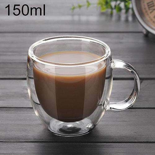 150ml Double Wall Glass Cup With Handle Tea Coffee Beer Milk Mugs Heat Cold Resistant Transparent Drink Mug Drinkware