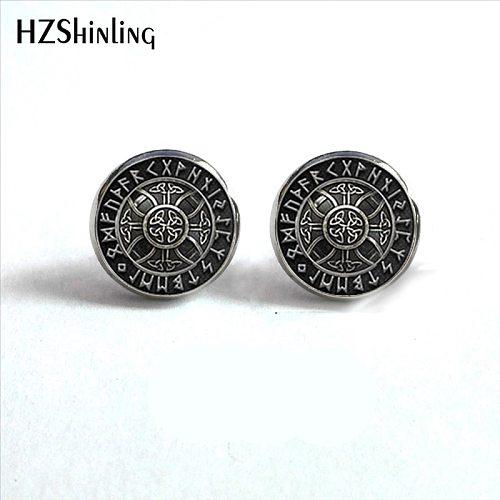 NES-004  Norse Viking Ear Stud Cross in Rune Circle Earrings Compass Studs Earring Jewelry Glass Cabochon Earrings Post HZ4