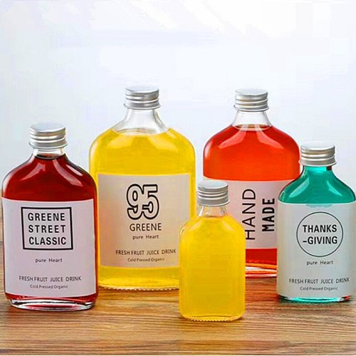 50/100/200ml Transparent Glass Bottle with Aluminum Cap Flat Wine Bottle Square Fruit Juice Apple Lemon Drink Wine Container
