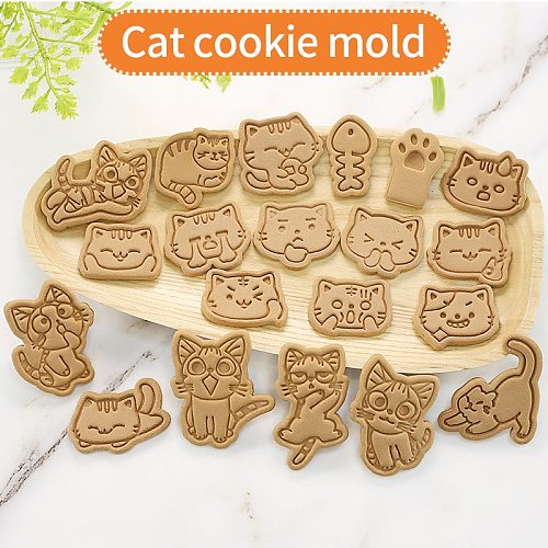 3d Biscuit Mould Cartoon Cat Claw Cat Shape Plastic Cookie Mold Diy Household Baking Cookie Press Baking Utensils Cookie Mold