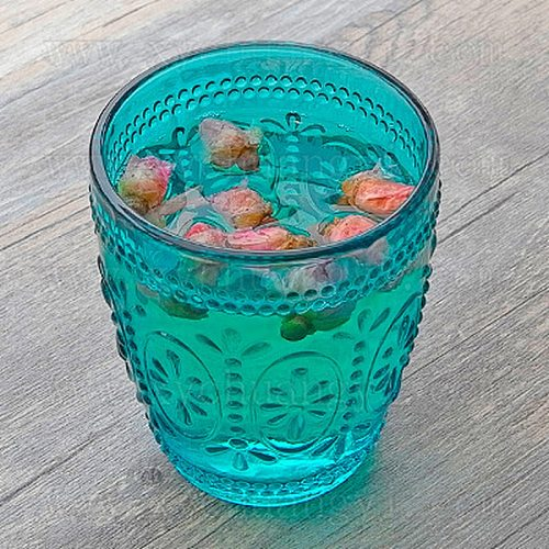 Retro Relief Sunflower Glass Elliptical Flowers Cocktail Glass Green Blue Bar Party Cup Egyptian Court Water Cup Colorful Glass