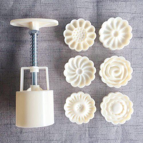 6pcs/set Flower Shaped Mooncake Mold 50g DIY Hand Pressure Fondant Moon Cake Mould Plastic Press Cookie Cutter Baking Tool