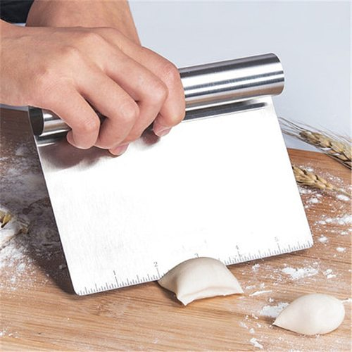Smoother Edge Cake Scraper With Scale Pizza Cutter Flour Slicer Multifunction Stainless Steel Pastry Icecream Spatulas Cake Tool