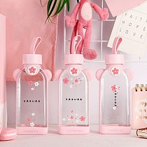 2021 Glass Water Bottle Cherry Blossom Pattern Transparent Creative Fresh Cute Girl Heart Portable Sports Outdoor Cup