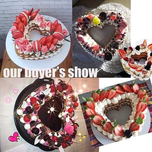 Heart Shape Cake Mold PET Plastic Cake Decorating Tools Confeitaria Maker Useful Baking Accessories 6/8/10/12/14inch