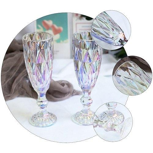 6Pcs Vintage Relief Goblet Transparent Wine Glass Stem-Cup Champagne Cup