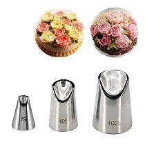 #79#402#402L Chrysanthemum Nozzles For Cake Decorating Tulip Pastry Nozzle Succulents Icing Piping Tips Bakeware Pastry 3pcs set