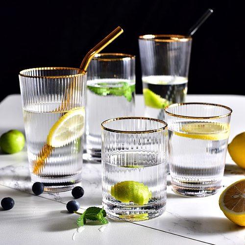 Japanese Gold Silm Vertical Grain Glass Cup 450/520MLHeat-Resistant Household Simple Cups for Cofffee Milk Juice Bar Drinkware