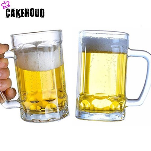 CAKEHOUD Household Glass Beer Mug With Handle Thickened Transparent Crystal Tea Cup Drink Cup Bar Party Supplies Cocktail Glass