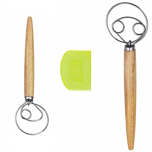 Wooden Handle Dough Mixer Set Self-adhesive Bag Packaging Single Eye Coil Manual Flour Mixer Manual Baking Tools Whisk