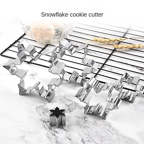 Christmas Snowflake Cookie Tools DIY Baking Stainless Steel Cake Mold Ice Flower Handmade Biscuit Mold 5pcs/set Bakery Appliance