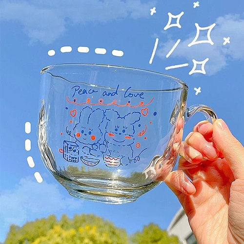 500ML Cute Transparent Glass Coffee Milk Mug With Handle Home High Capacity Breakfast Mugs Bowl Oatmeal Cereal Cups Gift Cup