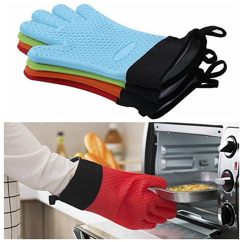 Kitchen Silicone Microwave Oven Heat Resistant Gloves Potholder Mitt Glove With Long Canvas Sleeve Stitching for Grilling BBQ