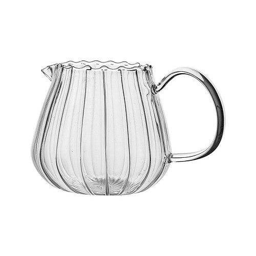 Stripe Cafe Drinkware Milk Jug Glass Cup Heat-resistantn Glass Cup With Handle Coffee Milk Tea Separator