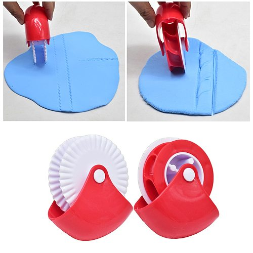 1-Set Kitchen Pizza Pastry Lattice Cutter Pastry Pie Decor Cutter Plastic Wheel Roller for Crust Baking Cutter Tools
