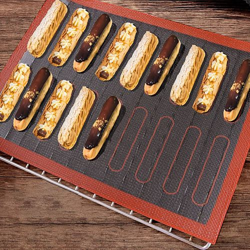 Silicone Mat 18 Eclair Non Stick Baking Mat Oven Sheet Liner For Cookie Bread Biscuit Mold Pastry Tools Oven Sheet Bakeware 2021