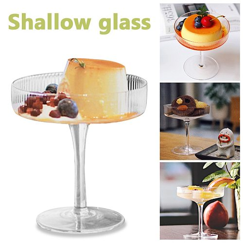 Ins Style Glass Cups Dessert Goblet Ice Cream Cup Container For Party Bar Beer Juice With Cake Toppers Cocktail Wine Glass