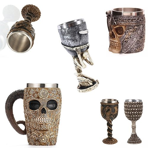 3D Double Stainless Steel Skull Mug Beer Stein Tankard Tea Water Cup Wood Barrel Mug Knight Helmet Halloween Bar Cool Drinkware