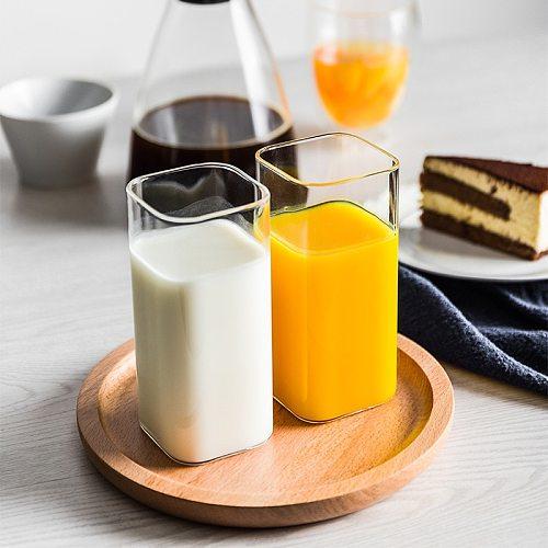 Breif Transparent Borosilicate Glass Cup Rectangle Single Layer Insulated Tea Juice Cup Lead-free Milk Mug Office Water Cup