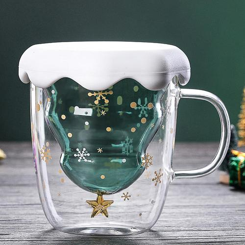 300ml Snowflake Clear Glass Coffee Cup Whiskey Beer Double Layer Mug Drinkware Coffee Cup Milk Juice Cup Children Christmas Gift