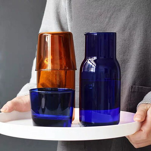 Colored Japanese Style One Person Drinking High Borosilicate Glass Jug Set Household Juice Jug