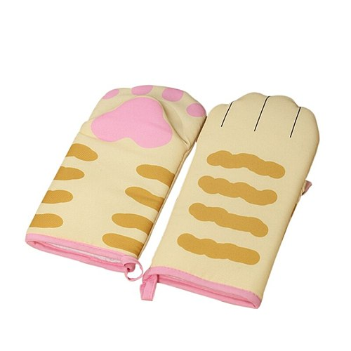 Cute Cat Paw Oven Mitts Microwave Heat Resistant Non-slip Gloves Long Sleeves Cotton Baking Insulation Gloves 1/2PCS
