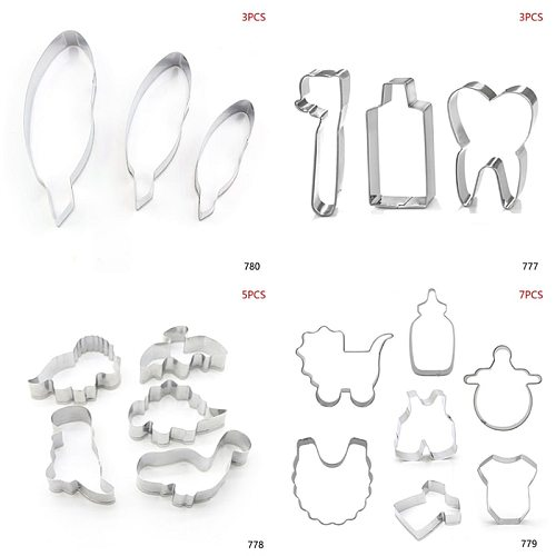 3-7Pcs/Set Stainless Steel Baby Stroller Feeding Bottle Clothes Bib Shape DIY Cookie Cutter Biscuit Mold Baking Decorating Tools