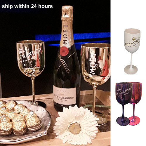 2pcsWine PARTY White Champagne Coupes Cocktail Glass Champagne Flutes plating Wine Cup Goblet Electroplated Plastic Cups