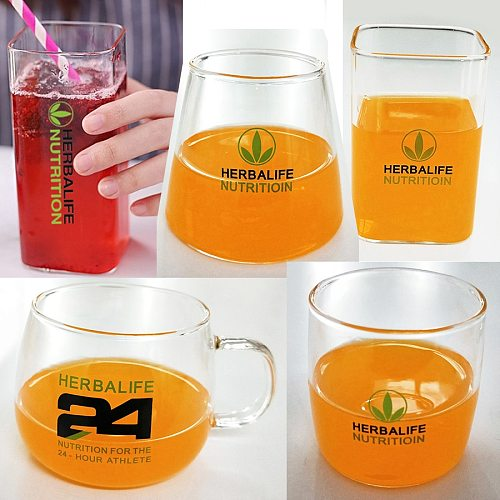 Wholesale Price Cola Bottle Ins Transparent 24Hour Clover Herbalife Nutrition Glass Coffee Cup Beer Mug Tea Home Drinkware