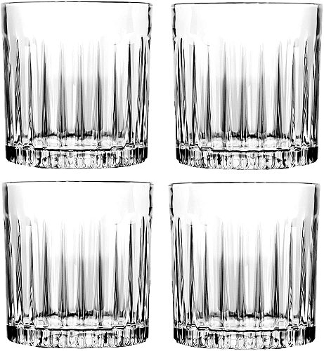 4PCS Whiskey Glass, 310ml Crafted Double Old Fashioned Heavy Base Rocks Glasses for Scotch Set of 4