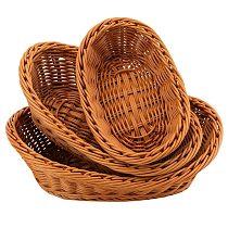 3 Pack Woven Breads Serving Baskets,Oval Imitation Rattan Fruit Basket,Woven Stackable Tabletop Food Basket,Brown