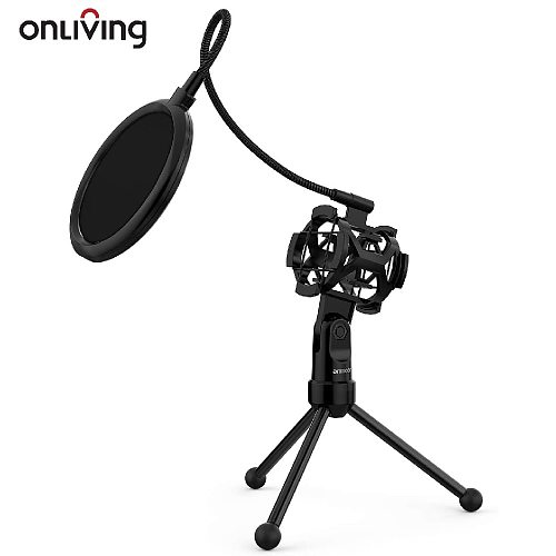 Microphone Stand Mini Desktop Tripod Mic Stand With Shock Mount Mic Holder Pop Filter For Online Broadcasting Singing Meeting