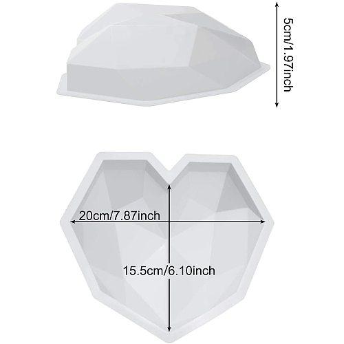SILIKOLOVE 3D Diamond Love Heart Shape Silicone Molds for Baking Sponge Chiffon Mousse Dessert Cake Molds Food Grade