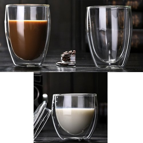 Heat Resistant Double-Wall Insulated Glass Espresso Mugs Latte Coffee Glasses/Whisky/Coffee Cup/Tea Mug