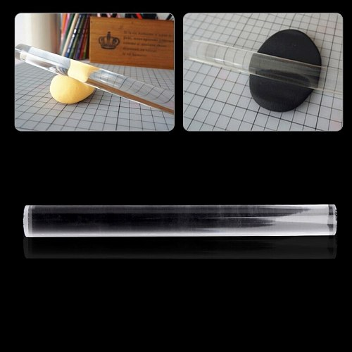 Transparent Acrylic Solid Roll Clay Rolling Pin Fondant Baking Pastry Roller M89A