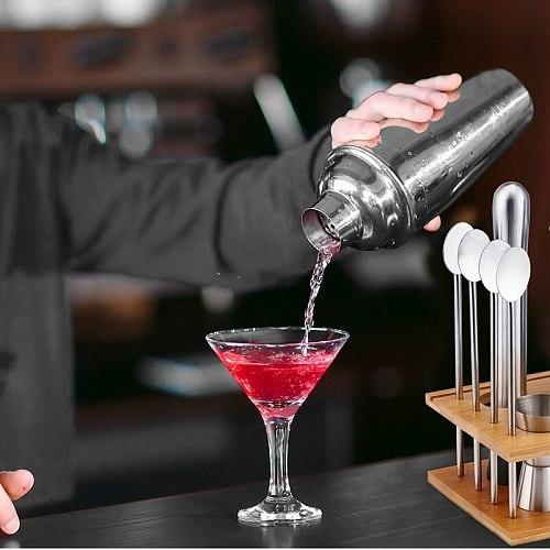 14PCS 750Ml Stainless Steel Cocktail Shaker Bar Mojito Set Jigger Muddler Bartender Tools Kit