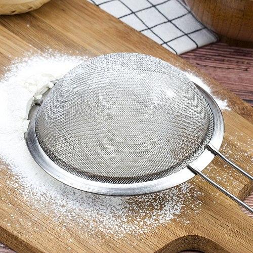 3 Size Stainless Steel Flour Colander Strainer Handheld Icing Sugar Sieve Baking Accessories Kitchen Supplies