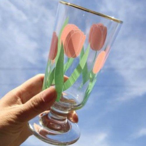 280ml Vintage Chrysanthemum Whiskey Shot Glass Tulips Snifter Gold Foil Milkshake Vodka Glass Cup Multi-purpose Wine Set Goblet