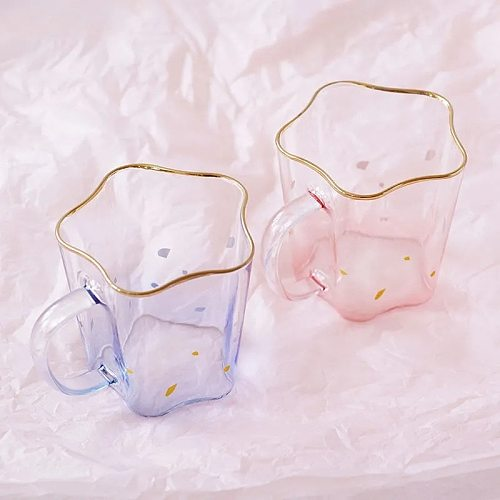 450ML Creative Phnom Penh Crystal Glass Northern Europe Gradient Kawaii Snack Cup Girl's Gift Coffee Strawberry Milk Mug
